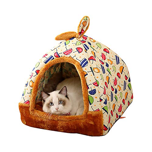 EODPOT Soft Warm Pattern 2 in 1 Pet Nest Rutschfestes Hundekatzenbett, faltbares Winter Soft Cosy Schlafsack Mat Pad, für Haustiere innerhalb von 10 kg-yellowumbrella-S