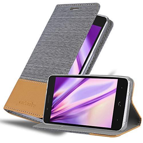 Cadorabo Hülle für BQ Aquaris X5 Plus in HELL GRAU BRAUN – Handyhülle mit Magnetverschluss, Standfunktion & Kartenfach – Case Cover Schutzhülle Etui Tasche Book Klapp Style