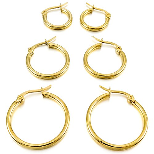 MunkiMix 15mm 20mm 25mm Acero Inoxidable Aro Hoop Huggie Pendientes Oro Dorado Tono (3 Coppiaes) Mujer