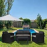 Sekey Polyrattan Lounge Set, Garten Sitzgruppe Gartenmöbel Set für 4 Personen mit Tisch & Sitzkissen für Terrasse, Schwarz