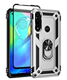 SunRemex Moto G Power 2020 Case with Tempered Glass Screen Protector. Moto G Power Case Kickstand [ Military Grade ] 15ft. Drop Tested Protective Case Cover for Motorola Moto G Power Phone. (Silver)