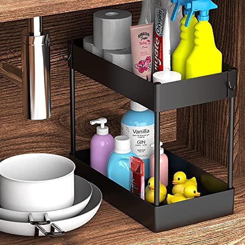 Under Sink Organizer, Under Bathroom Sink Storage 2 Tier Organizer Bath Collection Baskets with Hooks, Black Under Sink Shelf Organizer Rack, Multi-purpose Under Sink Storage for Bathroom Kitchen