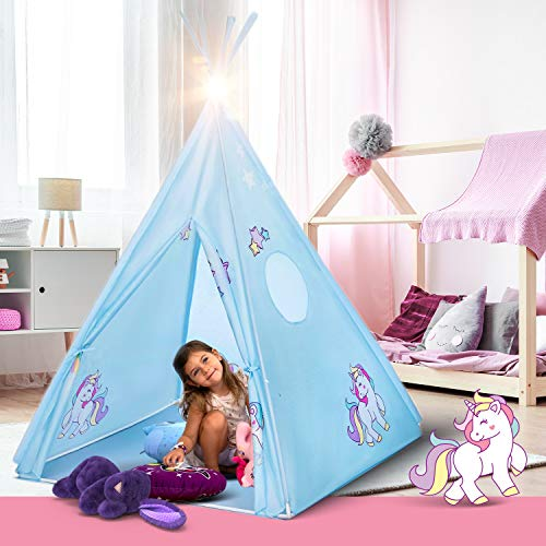 Teepee Tent for Kids | Unicorn Tepee Play Tent Indoor and Outdoor | Tipee Tent for Girls and Boys | Children's Best Tee Pee Playhouse Fort | Carry Case Included | w/ Bonus Unicorn Bracelet (Blue)
