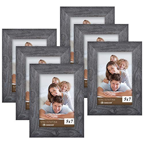 Picture Frames 5x7 Gray (set of 6 Pack) - Rustic Farmhouse Wooden Frame - Photo Frame with Polished High Definition Glass for Table Top and Wall Mounting