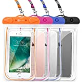 Waterproof Case, 4 Pack F-color Floating Clear Waterproof Phone Pouch TPU Dry Case Compatible iPhone X 8 7 7 Plus Home Button for iPhone, Google Pixel, Samsung, HTC, LG, Blue Black Orange Pink
