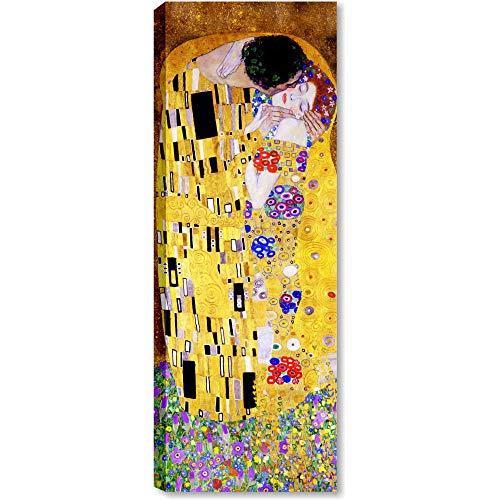 Quadri L&C ITALIA Klimt Il Bacio Quadro Moderno Soggiorno Salotto Camera da Letto 30 x 83 Stampa su Tela da Parete