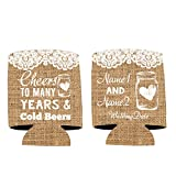 """VictoryStore Can and Beverage Coolers: Custom Rustic """"Cheers to many Years and Cold Beers"""" Wedding Can Coolers (50)"""