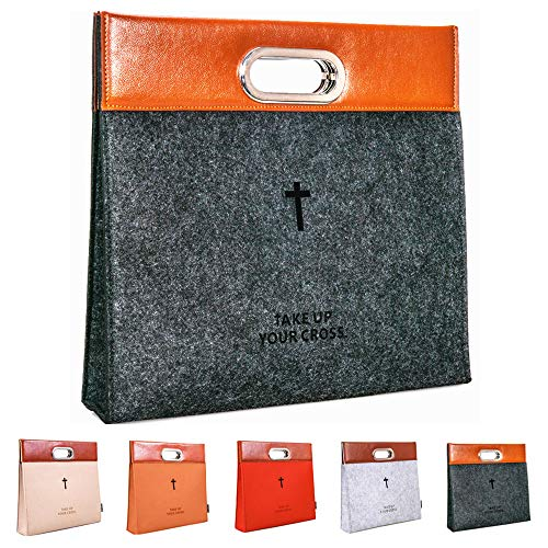 AGAPASS Bible Carrying Case,Handbag Felt Bible Cover for Men, Bible Tote Carrying Bag, Zipper Bible Briefcase, Stainless Steel Handle PU Leather Tote Church Study Case,Church Bag (Dark Gray)