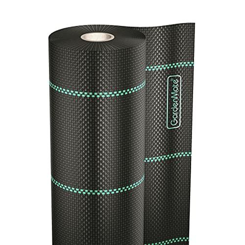 GardenMate 1mx50m Rolle Unkrautgewebe wasserdurchlässig gegen Unkraut, Unkrautvlies mit UV-Schutz, Bändchengewebe reißfest, Unterbodengewebe, Unkrautfolie, Mulchfolie, 100g/m²