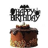 Black Glittery Halloween Birthday Cake Topper, Bat Cake Topper, Boo Cake Topper, Ghost Cake Topper, Halloween Cake Toppers, Boo Day Cake Topper, Halloween Birthday Decorations