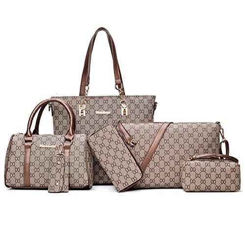 Set PU Borse Donna Pelle 6 pezzi borsetta pelle tracolla elegante vintage retrò casual viaggio Borse da Spalla Caffè