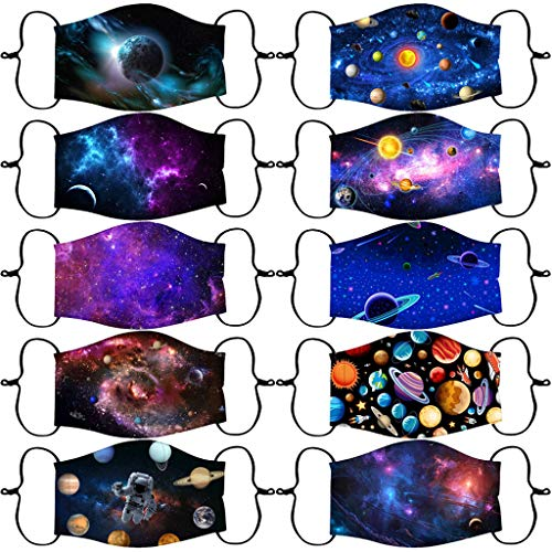 Kids Reusable Washable Face Masᴋ Bandanas Galaxy Pattern With Filter Pocket And Adjustable Earloop Breathable INORZYI