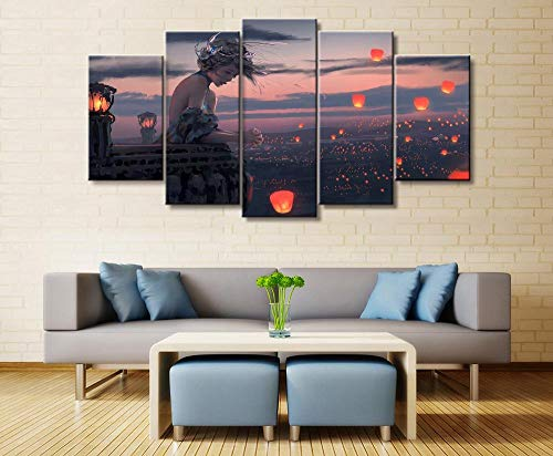 ukooo canvas, schilderkunst, modulair, 5 stuks, Wall Art HD-affiche, make-up, engel, prinses, fotodecoratie, huis