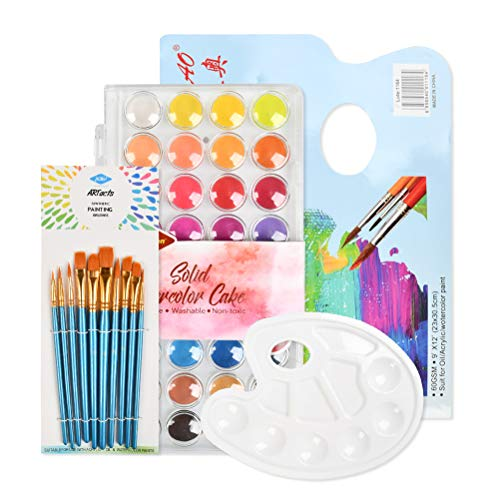 YOTINO Watercolor Paint Set with Nylon Hair Brush Set, 36 Color Professional Solid Watercolor Cake with Palette and Art Pad Paper for Kids Adults, Beginner, Professionals