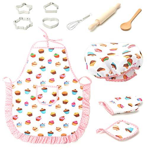 Harddo 11tlg. Kinder Kochset, Kinder Backformen Set Küchen Kochspielset mit Schürze für Mädchen und Jungen, Kochmütze und Kochhandschuh & Backutensilien