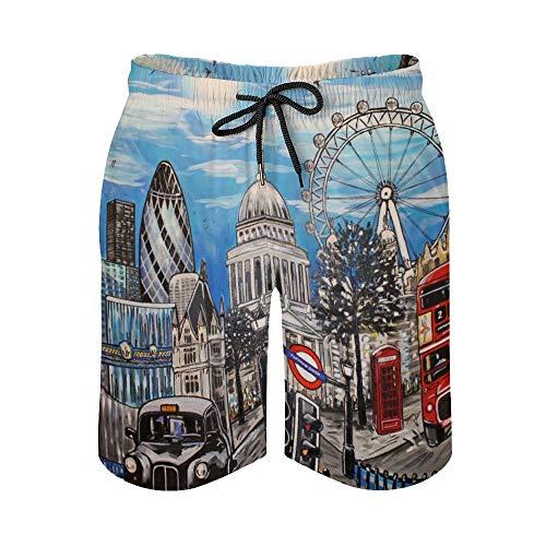 MayBlosom Pantalones cortos de playa para hombre, London Paintings de secado rápido, trajes de baño casuales hawaianos para fiestas de día festivo con elástico