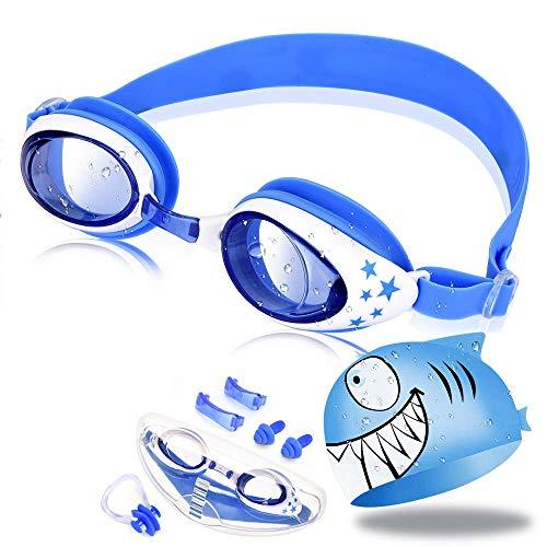 OTraki Occhialini Piscina Bambini Cuffia Nuoto Silicone Set Antifog Protezione UV Occhiali Nuoto Mare Bambino Ragazzo con Caso, Clip Naso, Tappi Orecchie (3-12 Anni)