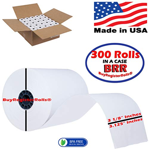 3 1 8 x 200 Thermal Paper Rolls (300 Rolls) Guaranteed Length Thermal Receipt Paper Rolls Cash Register Rolls BPA Free Made in USA from BuyRegisterRolls