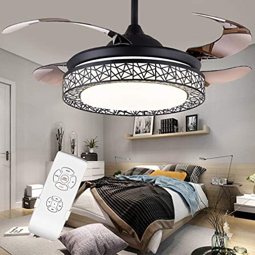 Retro Onzichtbaar Plafondventilator licht voor slaapkamer Huiskamer Eetkamer Ventilatorverlichting met lamp Modern eenvoudig Vogelnest LED,Black,Remote Control