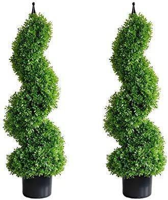 momoplant Artificial Topiary Outdoor Boxwood Spiral Topiary Tree 3ft 2 Pieces Faux Topiary Tree product image