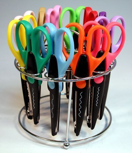 Strokes Office Supplies 12 Paper Edger Scissors with Organizer Stand! Great for Teachers, Crafts, Scrapbooking