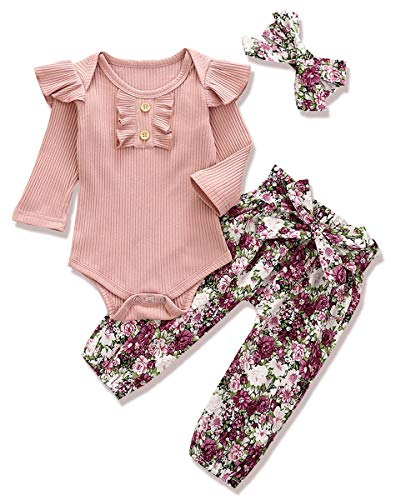 Fall Outfit Baby Girls Romper Pants Set, Ribbed Ruffle Long Sleeve Romper Bodysuit+Floral Pants Set with Headband 3PCS Newborn Fall Winter Clothes Set (Purple Floral Pants Set, 6-12 Months)