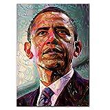 オバマ肖像画アメリカ大統領キャンバスアート絵画モダンポップウォールポスターとプリント写真リビングルームの装飾用キャンバスに印刷60x80cmフレームなし1個