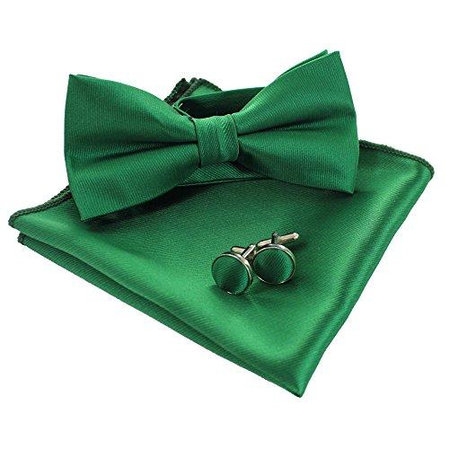 JEMYGINS Mens Green Bow Tie Pre-tied Silk Bowtie and Pocket Square Cufflink Set (3)