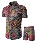 Tebreux Men's Floral Outfits 2 Piece Shirts and Shorts Suit Button Down Hawaiian Tracksuit Red M
