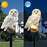 YUNYODA Luces solares de búho para jardín al aire libre - Lámpara LED impermeable para césped de búho - Luz creativa de paisaje nocturno para patio, patio, decoración de fiestas (Blanco)
