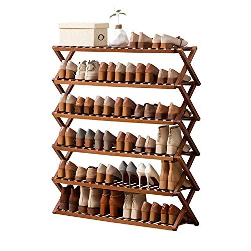 ZAIHW Zapatero de bambú de 6 Niveles, Plegable, Independiente, Estante para Zapatos, Organizador de Almacenamiento para el Pasillo del baño de la Sala de Estar, 100 × 25 × 100cm