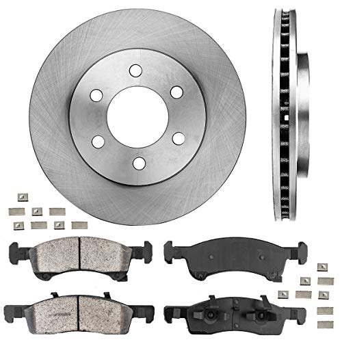 CRK14033 FRONT 329mm Premium OE 6 Lug [2] Brake Rotors + Ceramic Pads + Clips...