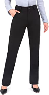 Bamans Work Pants for Women Yoga Dress Pants Straight Leg Stretch Work Pant with Pockets