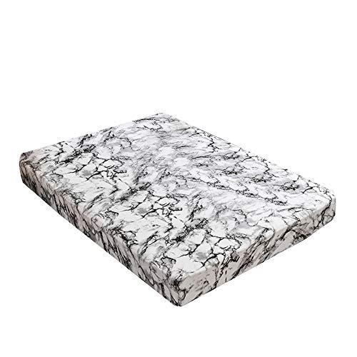 Decdeal Polyester Spannbettlaken Marmor Muster Matratze Encasement Cover Matratze Topper wasserdichte Beschützer Hypoallergen Atmungsaktives Matratzenbezug