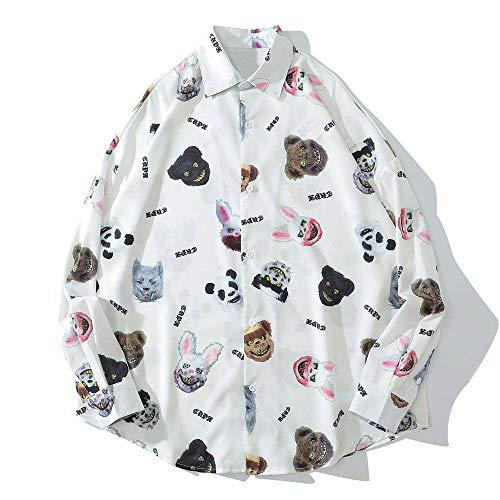 Camisas Manga Larga Hombre,Camisa Holgada De Ajuste Estándar De Moda Oso Conejo Animal Print Blanco Hombres...