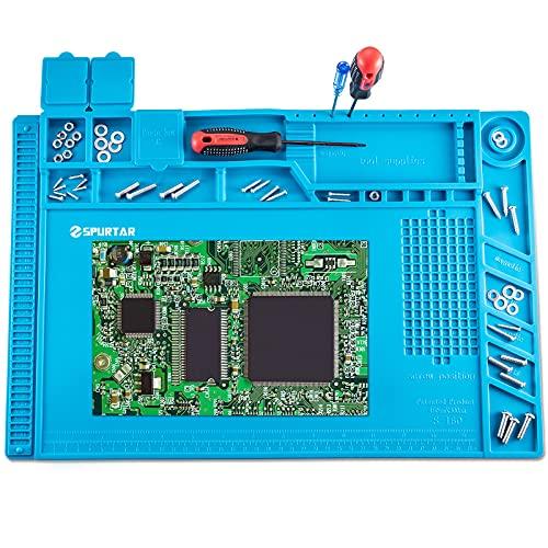Spurtar Tapis à Soudure Anti-Statique en Silicone avec Magnétique Section Coupe vis Encoches, 45x30cm 500 ℃ Résistance à la chaleur Tapis de Réparation pour Téléphone Regarder Ordinateur