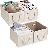 TomCare 4-PACK Storage Baskets Fabric Cube Storage Bins Foldable Decorative Baskets Storage Cubes with Cotton Rope Handles Cube Organizer Bins Storage Containers for Living Room Bedroom Office (Beige)