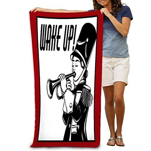 Candi-Shop Badetücher Wake Up of Girl with Trompete Kreative Tattoo Artwork Vorlage für Auto Strandtücher 80 x 130 cm