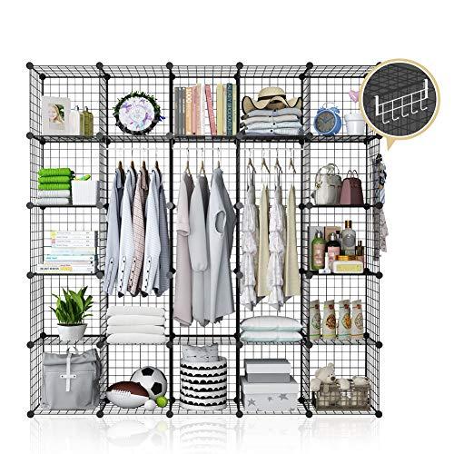 YOZO Modular Wire Cube Storage Wardrobe Closet Organizer Metal Rack Book Shelf MultiFuncation Shelving Unit 25 Cubes Depth 14 inches Black