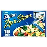 Ziploc Zip 'n Steam Meal Prep Bags, For Cooking and Steaming Food, Microwave Safe, Medium, 10 Count (Pack of 3)