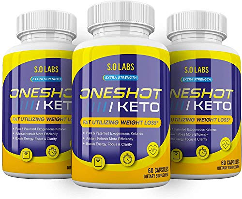 (3 Count) Keto Pills in a Single Shot Lightning Labs Oneshot Keto 1 Shot Fat Advanced Formula Supplement As Seen on TV (180 Capsules)