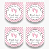 Set of 30 Personalized Pink Baby Feet Mini Favor Labels - Customized Stickers for Baby Shower Favors - Mini Bottle Labels - Labels ONLY (HSL119)