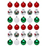 Amosfun 30 Pcs Bola de Natal Pingente Enfeites de Bola de Natal Enfeites de Bolas de Ãrvore Inquebrável Decoração para Festa de Casamento 6 Cm (Cores Sortidas)