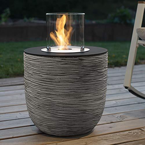 muenkel design Vigo – Riffelung schwarz-grau – Bio-Ethanol Feuerstelle Gartenfackel Terrassenfeuer mit Round Burner 250 Brennkammer