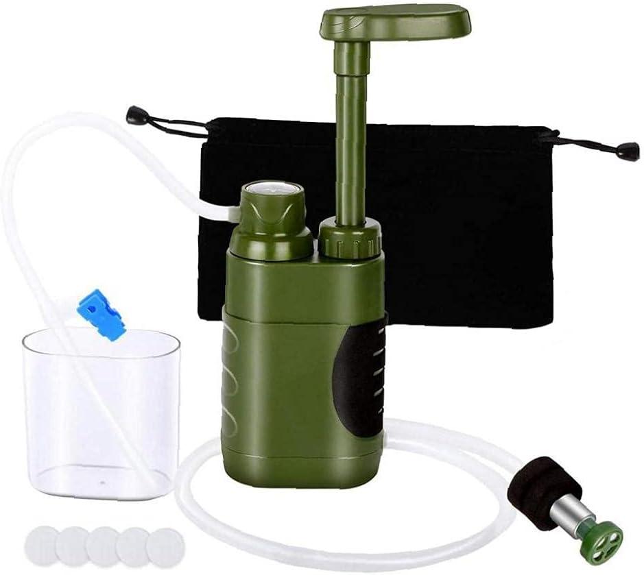 Budstfee Bomba de purificador de Agua para Exteriores Portátil de Emergencia Manual de Agua Potable Filtro de Agua para Acampar