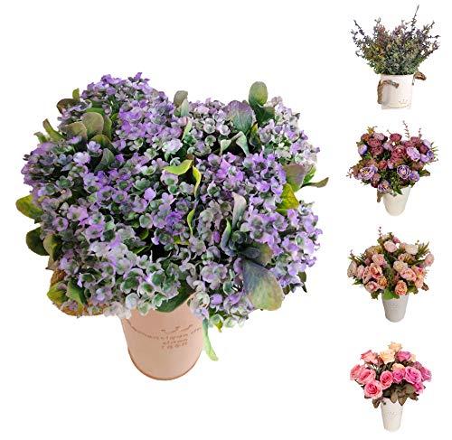 Flores/Plantas Artificiales Decoración Jarrones para Boda Eventos, Paniculata Gypsophila para Decorar Hogar Hotel Tienda Oficina Jardin Masetas (Lila, Flor Pack 4)