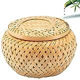 Caja de Almacenamiento de Bambú, Caja para Té de Bambú, Caja de Hisopos de Algodón, Bambú Tejido Hecho a Mano Caja de Bambú con Tapa para Guardar Bolsas de Té, Cambio, Hisopos de Algodón