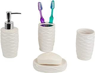 Home Basics Curves Textured 4 Piece Bath Bathroom Accessory Set (White)