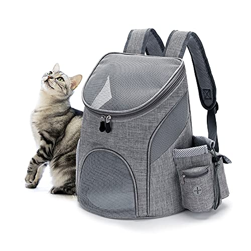 Largego Pet Carrier Backpack for Small Cats and Dogs,Ventilated Design,Safety Strap,Buckle Support,Foldable,Adjustable-for Pets Below 11lb,Ideal for Traveling/Hiking/Camping