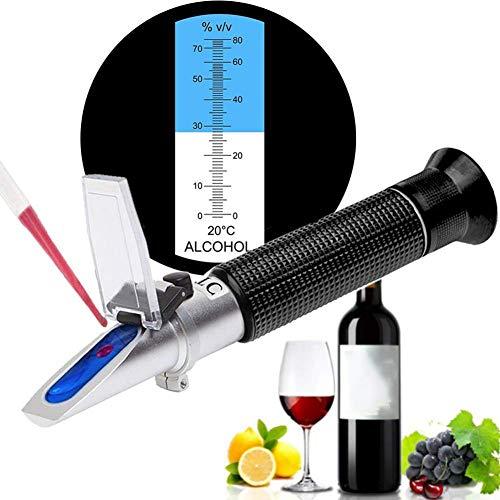 FEENGG Brennerei Refraktometer Alkohol 0-80% v/v HandRefraktometer Alkoholmeter für Spirituose Destillierte Getränke und Ethanol mit Wasser wie Whisky Wodka